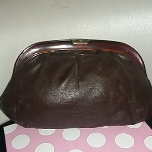 Vintage brown leather clutch w/gold clasp